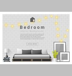 Modern bedroom background Interior design 3 vector image