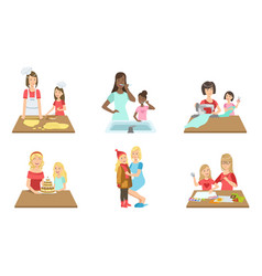 Mother and daughter performing daily activities vector