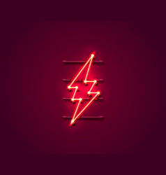 neon sign lightning signboard on red vector image