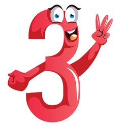 number three monster showing three fingers on vector image