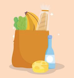 Online market bag cheese bottle bread banana and vector