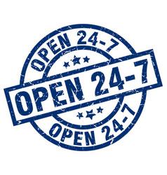 Open 24 7 blue round grunge stamp vector