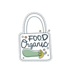 organic food logo template label for healthy food vector image