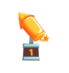 Original golden award in form of rocket with vector