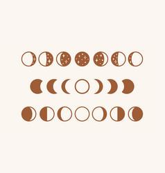 Phases moon boho moon vector