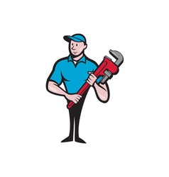 Plumber Holding Monkey Wrench Cartoon vector image