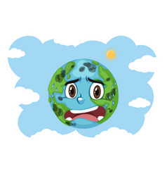 Pollution on earth crying with blue sky background vector