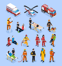 Rescue teams isometric set vector