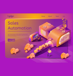 Sales automation service web page template vector