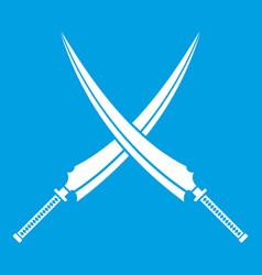 Samurai swords icon white vector