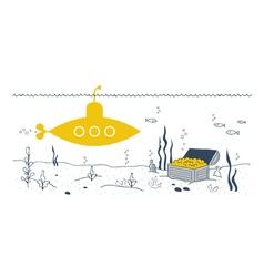 Sea bottom discovery yellow submarine vector