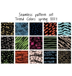 seamless hand drawn pattern set vector image