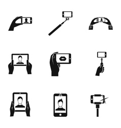 Selfie icons set simple style vector