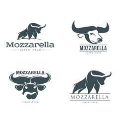Set logos with buffalo mozzarella cheese vector