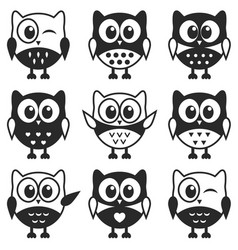 Set of black and white owls and owlets vector