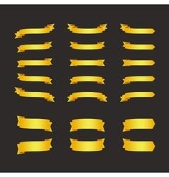 Set of golden ribbons on black vector image