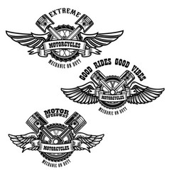 set of motorcycle repair emblems bike motor vector image