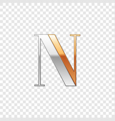 silver and gold font symbol alphabet letter n vector image