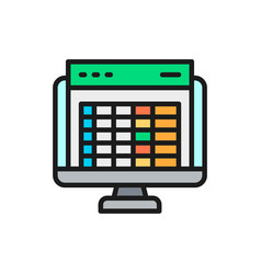 Spreadsheet computer screen financial accounting vector