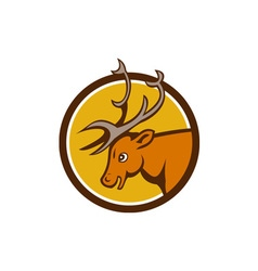 Stag deer buck head circle cartoon vector