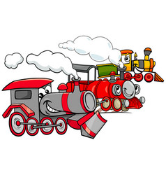 Steam engine cartoon characters group vector
