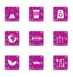 stop pollution icons set grunge style vector image