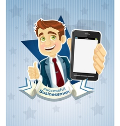 Successful businessman with phone star poster vector image