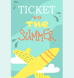 summer postcard with cute plane cartoon vacations vector image