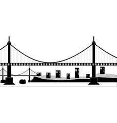 Suspension cable bridge vector image