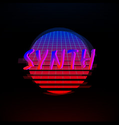 synthwave style gradient sun with outer space vector image