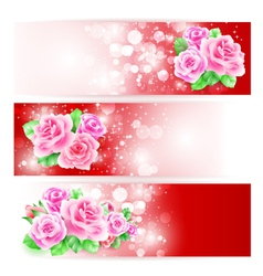 Three glowing banners with roses vector