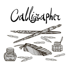 Tools for a calligrapher vector