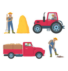 Tractor and lorry icons set vector