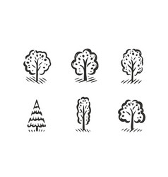 tree symbol set nature concept vector image