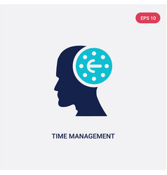 Two color time management icon from brain process vector