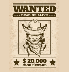 wild west wanted poster with cowboys face sketch vector image