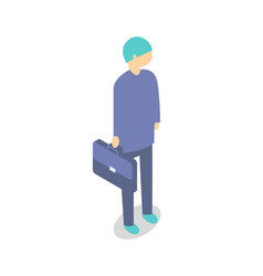 worker in suit with suitcase cartoon isolated icon vector image
