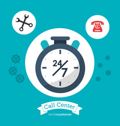 call center 24h all time service vector image