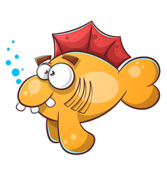 cartoon fish tooth water eye vector image vector image