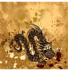 dragon on paper grunge vector image vector image