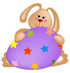 Easter rabbit with painted egg vector image vector image