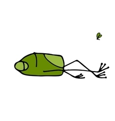 Funny frog sleeping sketch for your design vector image