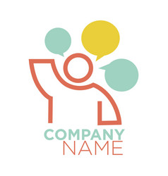 graphic logo human figure and thought signs on vector image vector image