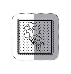 monochrome sticker in square frame and dotted with vector image vector image