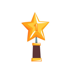 Shiny star trophy on brown base golden grand vector
