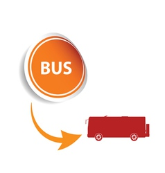 sticker bus orange vector image vector image