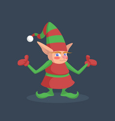 a picture of a christmas elf that spreads its arms vector image vector image