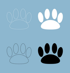 animal footprint the black and white color icon vector image