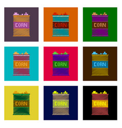 assembly of flat shading style pixel icon corn in vector image vector image