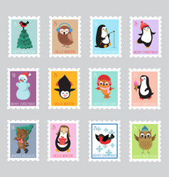 christmas santa postage stamps for greeting card vector image vector image